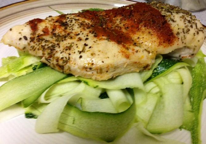 Chicken breast on zucchini