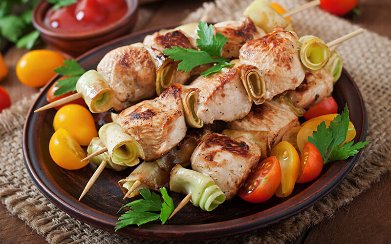 Chicken Skewers a lean option at restaurants