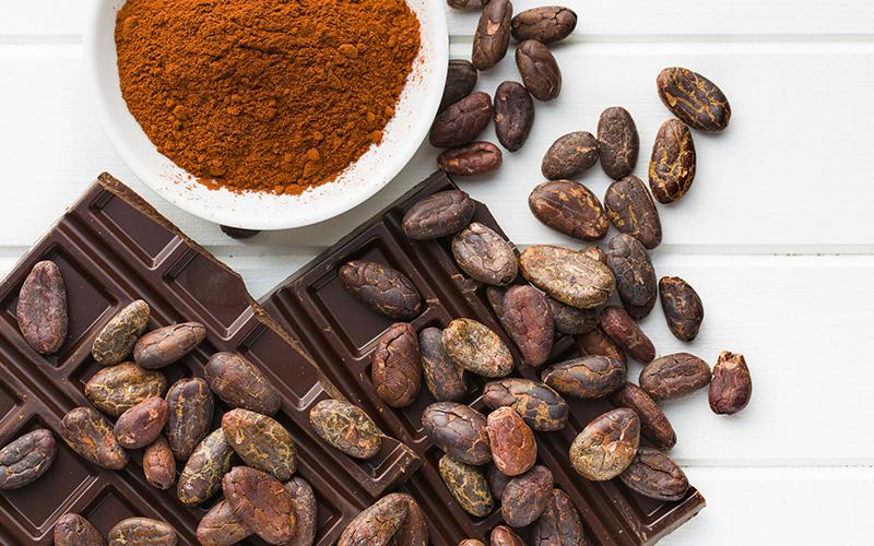 Dark chocolate, beans, and powder