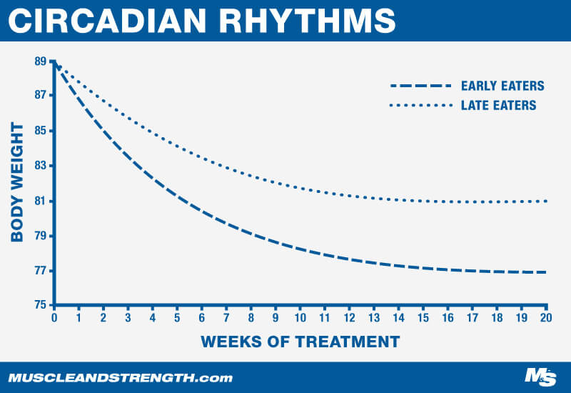Circadian Rhythm Early vs Late eaters Line graph