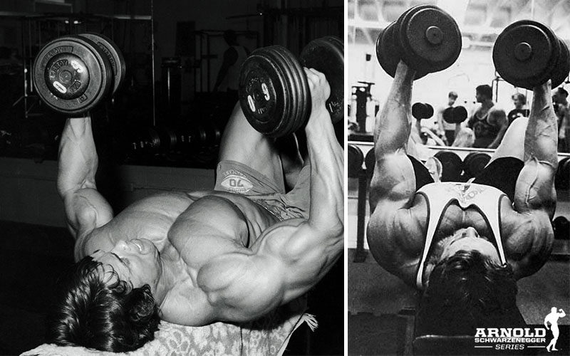 Golden Era Arnold Performing Chest Flys To Build Chest Muscle