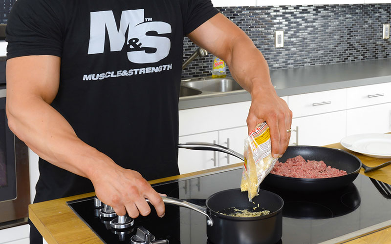 M&S Athlete Making Rice and Protein