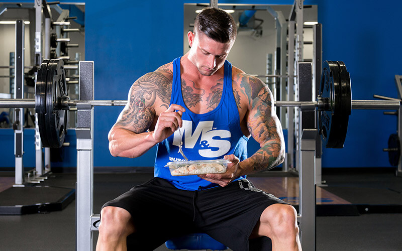 M&S Athlete Eating a meal in the gym