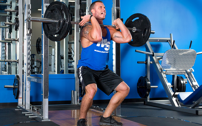 M&S Male Athlete Performing Front Squats