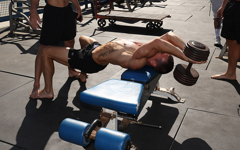 Coach Myers at Venice Beach Golds Doing Dumbbell Pullovers