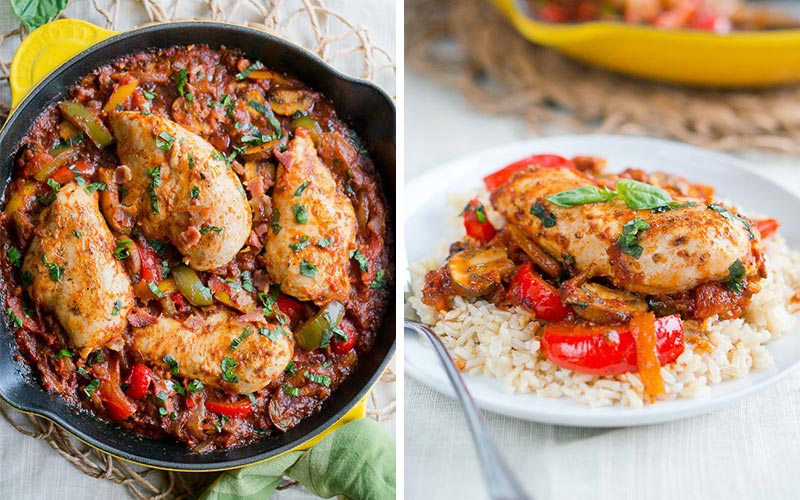 Healthy High Protein Dinners - One-Skillet Chicken Cacciatore