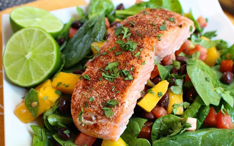 Easy High Protein Lunches - Chili Lime Salmon Salad