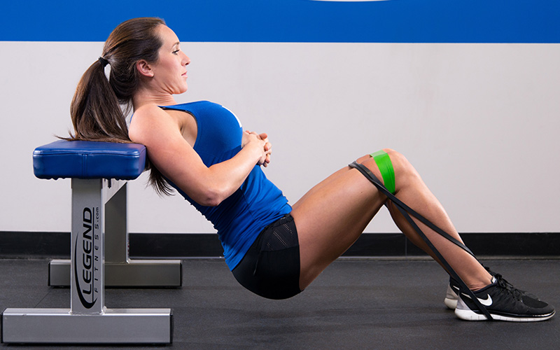 M&S Female Athlete Working on Posture Performing Hip Thrusts