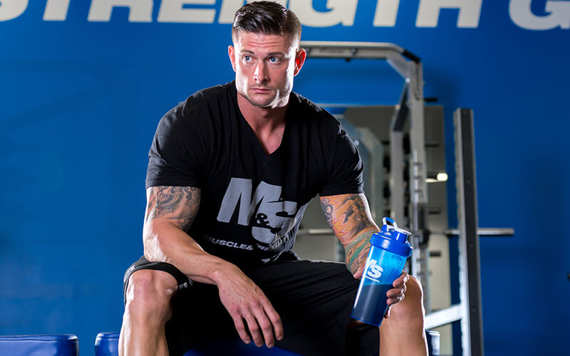 M&S Athlete Holding a blender bottle