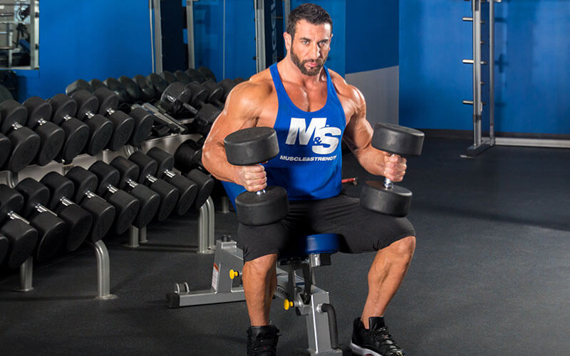 Casein guide: Guy sitting on a bench holding dumbbells