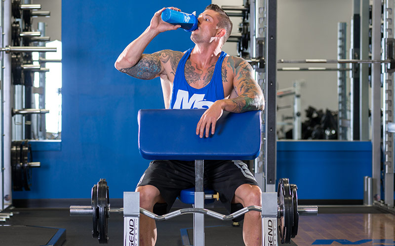 Intraworkout Nutrition Guy Drinking from Bottle