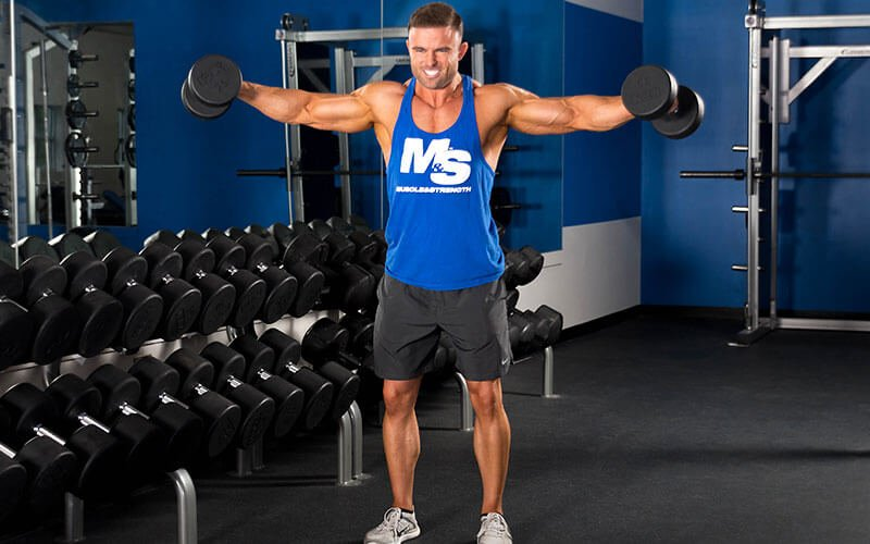 M&S Athlete Perfroming Dumbbell Lateral Raises