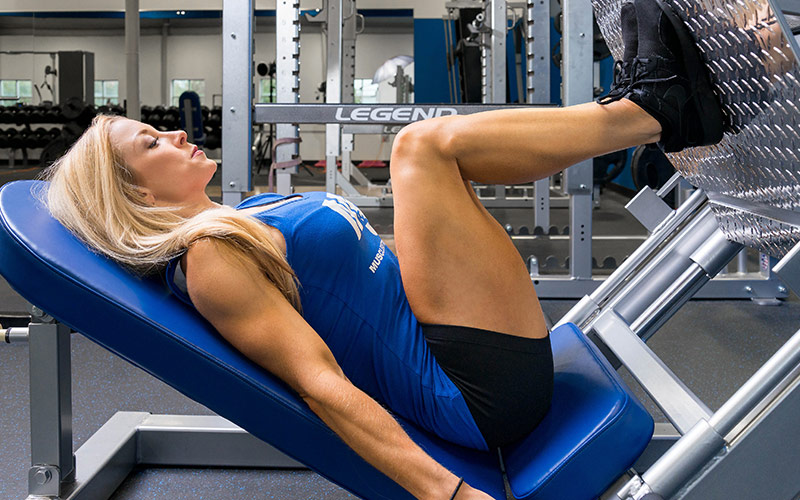 M&S Female Athlete Performing a Leg Press