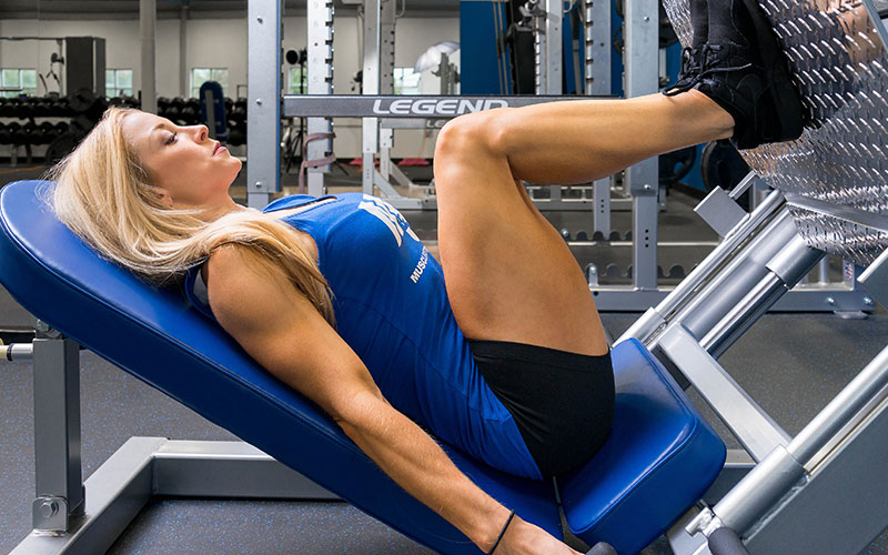 M&S Female Athlete Getting Stronger at Leg Press