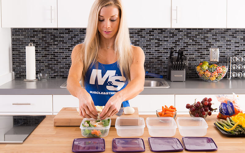 M&S Female Athlete Meal Prepping a Salad