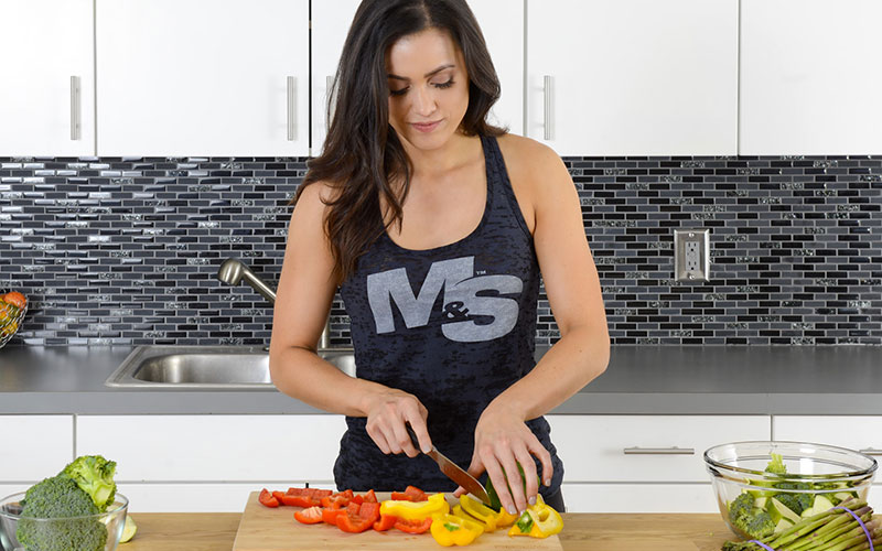 M&S Athlete Prepping Vegetables