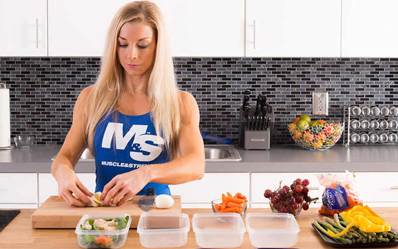 M&S Female athlete meal prepping