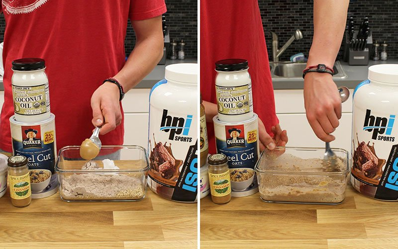 Adding Overnight Oats Dry Ingredients And Mixing With Water