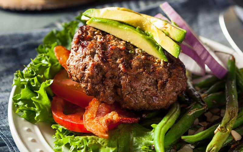Paleo Burger that is part of a proper paleo diet plan