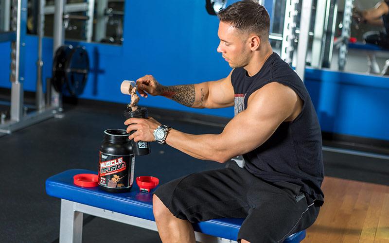 Nutrex athlete drinking post workout protein