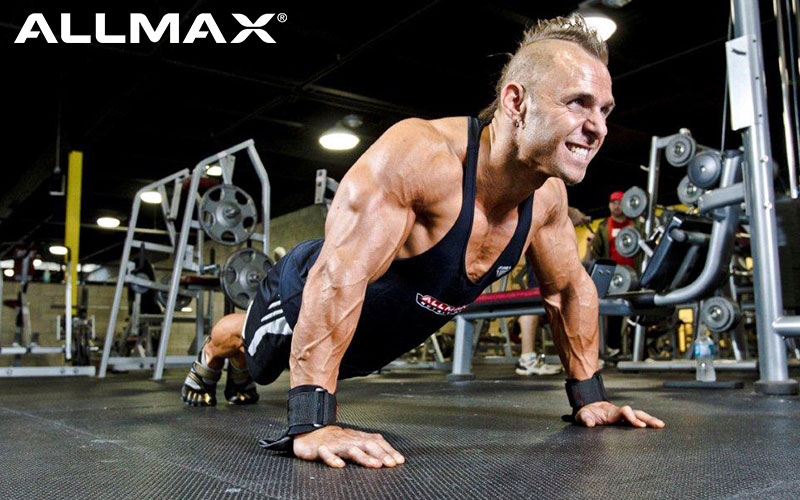 ALLMAX Athlete finishing chest day with Pushup:30