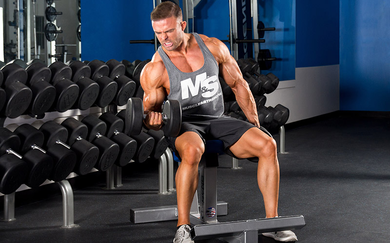 Male performing seated dumbbell curls