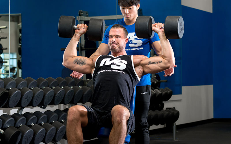 Dumbbell Shoulder Press with a Partner