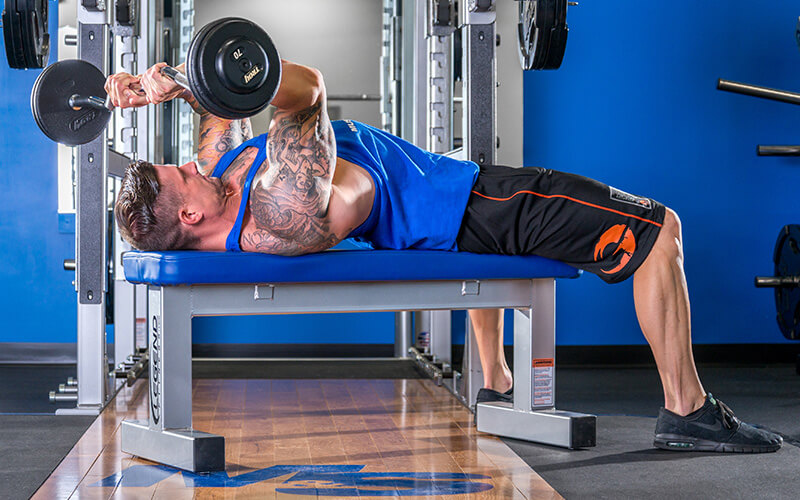 M&S Athlete Performing Skullcrushers During Arm Workout