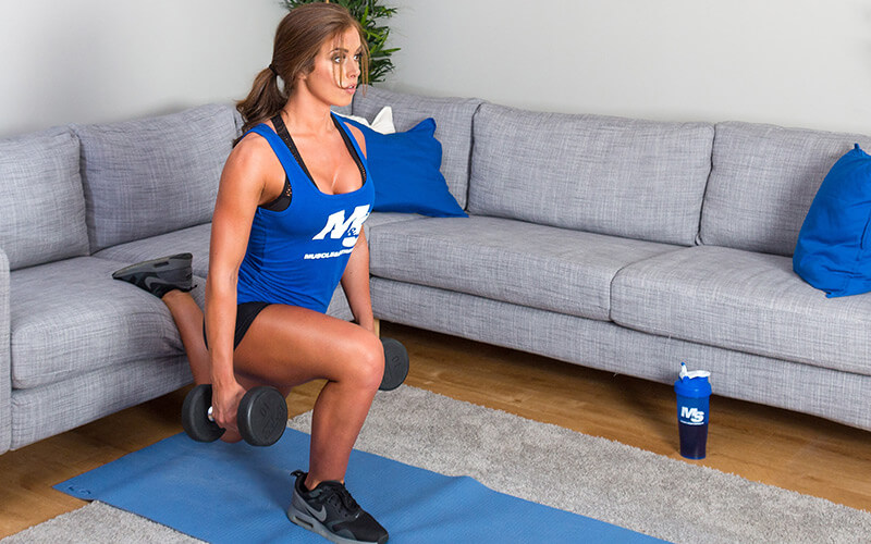 M&S Female Athlete Performing Split Squats