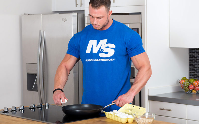 Athlete Cooking his Food and Showing Self Control