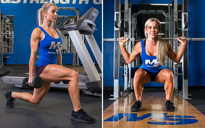 Female Athlete Supersetting Lunges with Squats