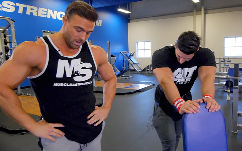 Sadik tired while doing the 10k pound shoulder press challenge