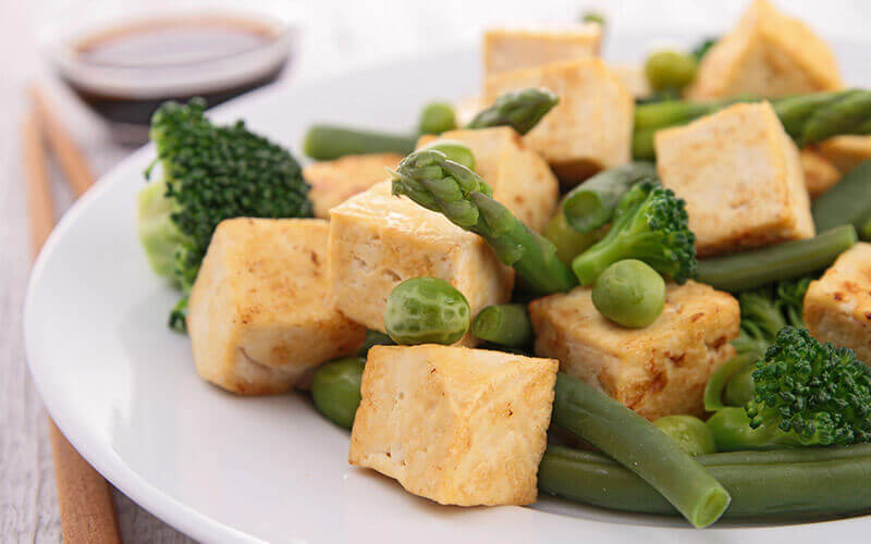 Tofu with Veggies part of the vegan diet plan