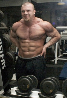 Alex Lee with shredded abs.