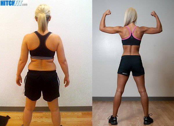 Brandi Wisdom back pose, before and after.