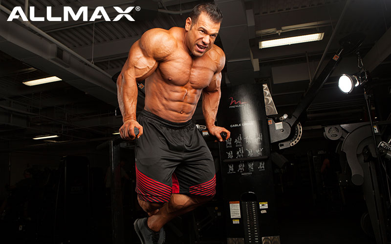 Allmax Athlete Steve Kuclo performing Dips