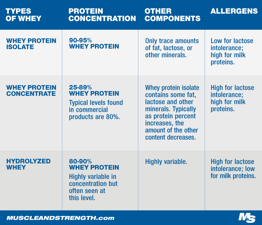 Types of Whey Chart
