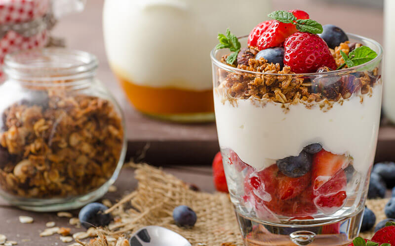 Reach for yogurt for a high protein low risk snack