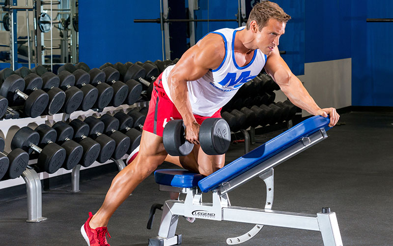 Dumbbell Row Using the Rest Pause Drop Set Method