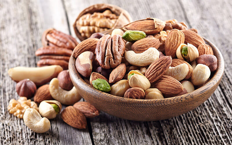 A bowl of nuts is a smart snack