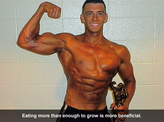 Eating more than enough to grow is more beneficial