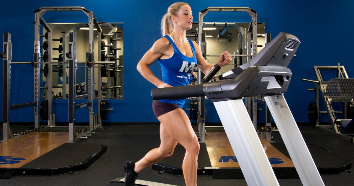 M&S model running on treadmill in gym.