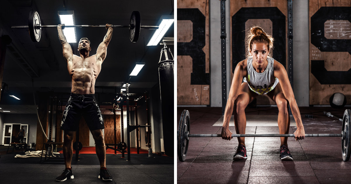 intense muscular man and woman doing barbell presses