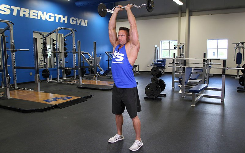 Standing Overhead Ez Bar Tricep Extension Video Exercise