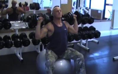 Exercise Ball Dumbbell Press