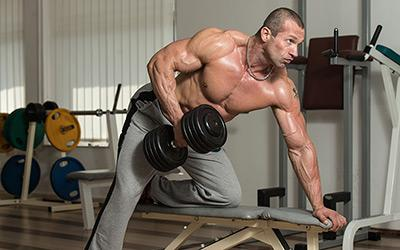 Man Pumped Muscle Dumbbell Row