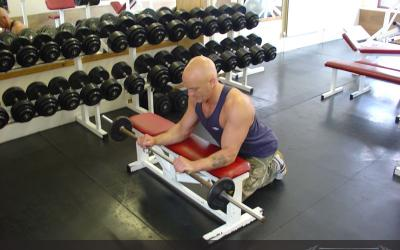 Reverse Barbell Wrist Curl Over Bench