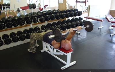EZ Bar Back Of The Head Lying Tricep Extension
