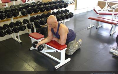 One Arm Dumbbell Wrist Curl Over Bench