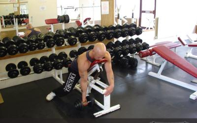 One Arm Prone Dumbbell Curl